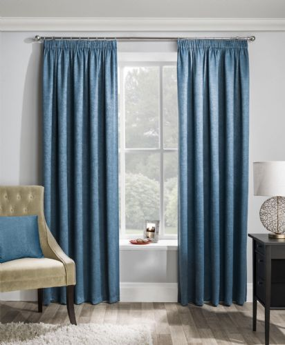 Stylish Textured Embossed Teal Pencil Pleat Tape Top Thermal Interlined Blockout Pair Of Curtains